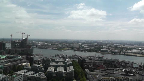 Hamburg Germany Aerial 12 port Stock Video Footage