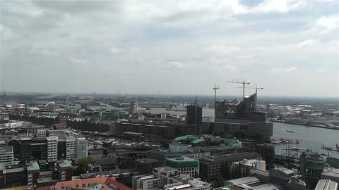 Hamburg Germany Aerial 14 port Stock Video Footage