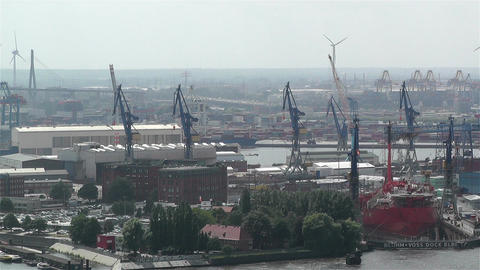 Hamburg Germany Aerial 24 port Stock Video Footage