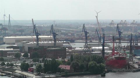 Hamburg Germany Aerial 24 port Stock Video Footage