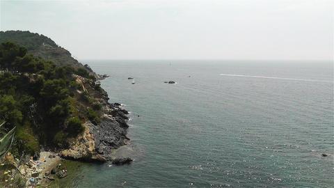 Palamos Beach Costa Brava Spain 26 rocky Stock Video Footage