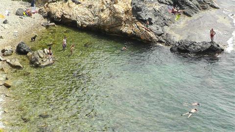 Palamos Beach Costa Brava Spain 27 rocky Stock Video Footage