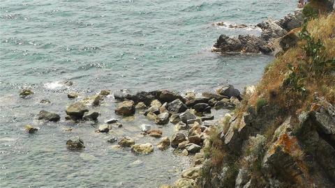 Palamos Beach Costa Brava Spain 29 rocky Stock Video Footage