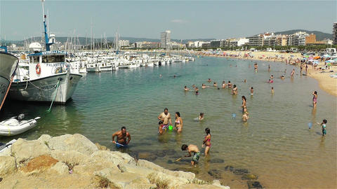 Palamos Beach Costa Brava Spain 33 Stock Video Footage