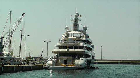 Superyacht Valerie in Port of Palamos Costa Brava Stock Video Footage