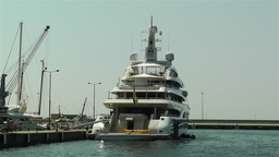 Superyacht Valerie in Port of Palamos Costa Brava Stock Video Footage