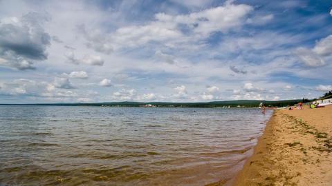 Siberian lake shoreline with waves. Shot in RAW, w Stock Video Footage