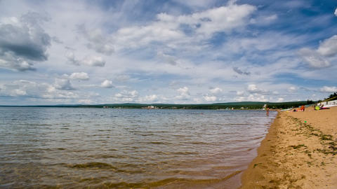 Siberian lake shoreline with waves. Shot in RAW, w Footage