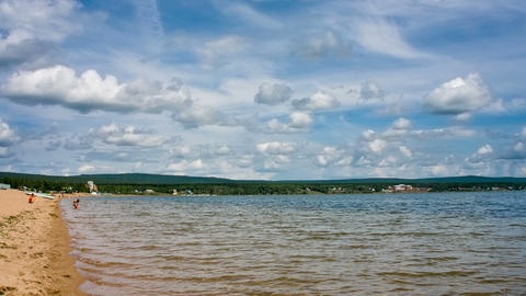 Siberian Lake Shoreline With Waves. Shot In RAW, W stock footage
