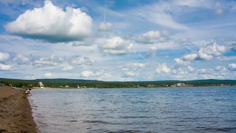 Siberian lake shoreline timelapse with waves. Shot Stock Video Footage