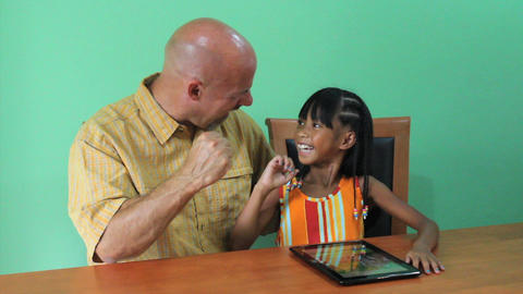 Proud Asian Girl Using Digital Tablet Stock Video Footage