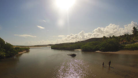 Timelapse of Beach Lagoon from Bridge Stock Video Footage