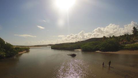 Timelapse of Beach Lagoon from Bridge Stock Video Footage