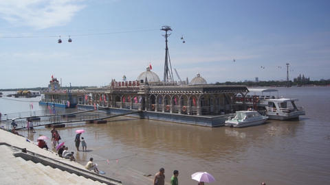 Harbin City. Passenger Pier on the River Songhua Stock Video Footage