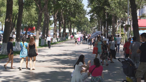 City Harbin Embankment. People walking Stock Video Footage
