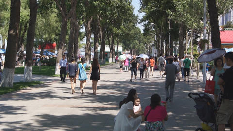 City Harbin Embankment. People walking Footage