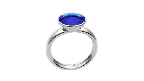 Platinum ring with blue diamond Stock Video Footage