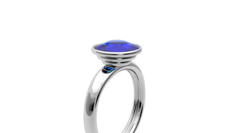 Platinum ring with blue diamond Animation