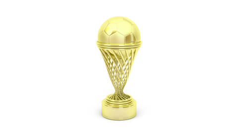 Golden football trophy Stock Video Footage