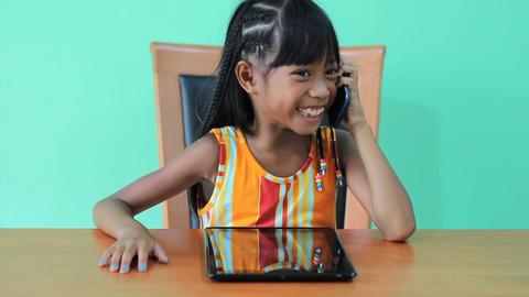 Asian Girl Talks On Smart Phone Footage