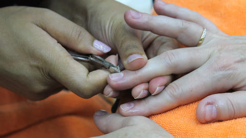 Nails Being Cleaned During Manicure Stock Video Footage