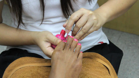 Pink Paint On Toes During Pedicure Stock Video Footage
