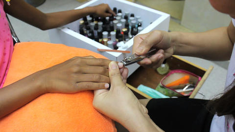 Nails Being Trimmed For Manicure Stock Video Footage