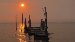 Sunrise from fishing pier Stock Video Footage