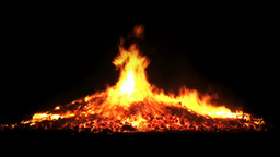 Fire burning flame branches pit big campfire going Stock Video Footage