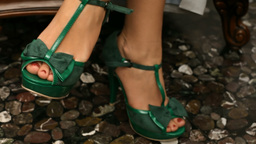 Green shoes Stock Video Footage
