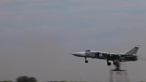 Military bomber SU - 24 Footage