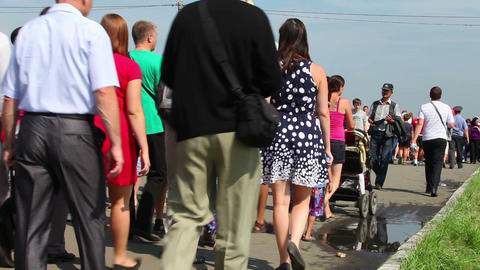 Unrecognizable crowd, people walking Stock Video Footage