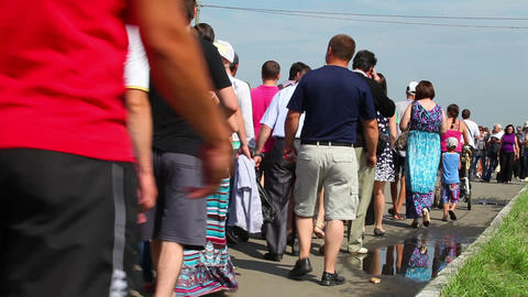 Unrecognizable crowd, people walking Stock Video Footage