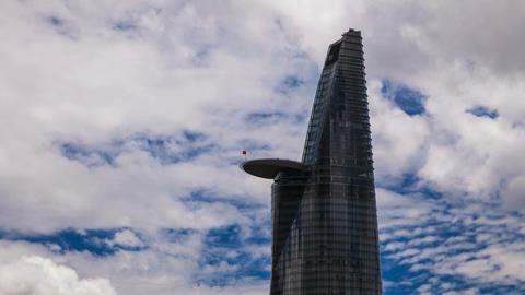 4K - Skyscraper in Saigon - Cloudscape Stock Video Footage