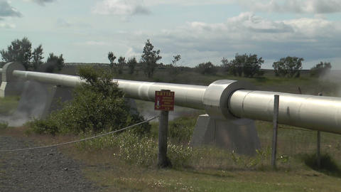 hot water pipeline in iceland for teleheating zoom Stock Video Footage