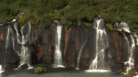 hraunfossar waterfall in iceland deatil view Stock Video Footage