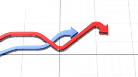 Red and blue arrows moving together on white backg Stock Video Footage