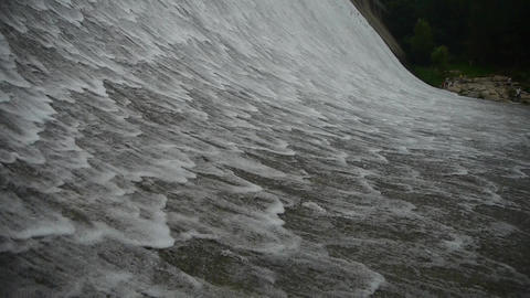 Torrential waterfall & spray from dam Stock Video Footage