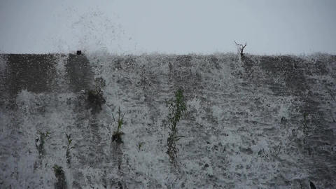 waterfall & spindrift,swing grass on dam Stock Video Footage