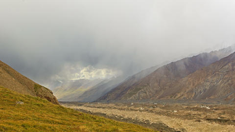 Rain in the mountains. Kirgystan, central Tien Sha Stock Video Footage
