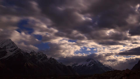 Moonrise in the mountain. Time Lapse Stock Video Footage