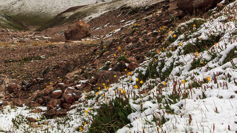 Snow melts in the mountains. Time Lapse Stock Video Footage
