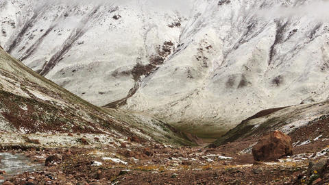 Snow melts in the mountains. Time Lapse Footage