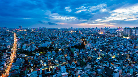 4k - HO CHI MINH CITY SKYLINE - ZOOM TIMELAPSE Stock Video Footage
