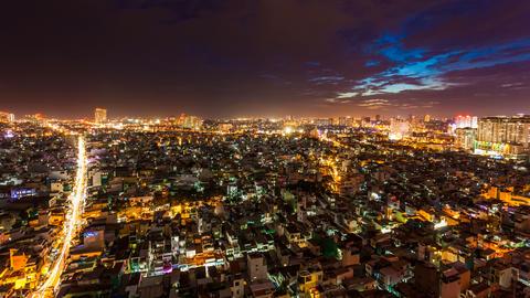4k - HO CHI MINH CITY SKYLINE - ZOOM TIMELAPSE Stock Video Footage