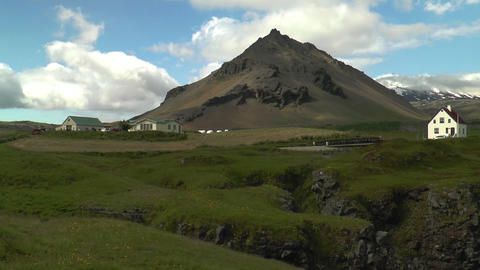 village at bottom of volcano in iceland Stock Video Footage