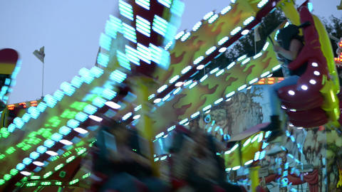 funfair oktoberfest carousel close 11056 Stock Video Footage