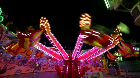 funfair oktoberfest carousel wide quick 11060 Stock Video Footage