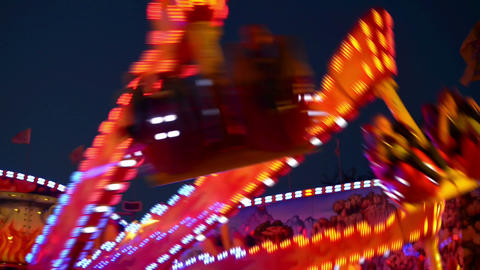 funfair oktoberfest carousel lights 11064 Footage