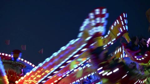 funfair oktoberfest carousel lights 11064 Stock Video Footage